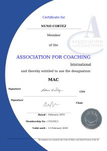 Nuno Cortez - Membership Certificate